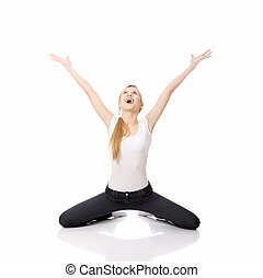 Young happy caucasian woman on knees , isolated on white...