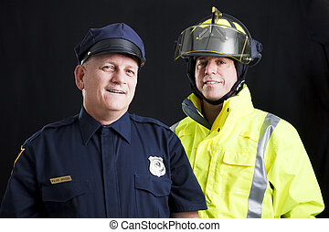 Public Employees Happy - Public employees, a firefighter and...