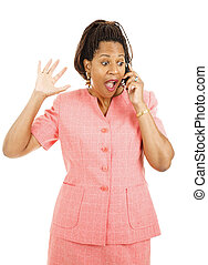Exciting News By Phone - Beautiful african american woman...