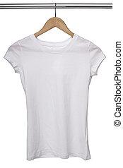 blanco, T, camisa, tela, perchas