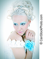 sensuality with blue flower