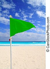 Beach green flag good weather wind Caribbean