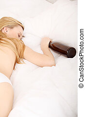 Drunk woman sleeping on bed - Drunk zoung topless woman...
