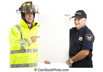 Public Employees Holding Sign - Firefighter and Policeman...