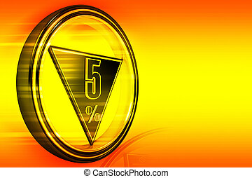 Gold metal five Percent - Gold metal five percent on orange...