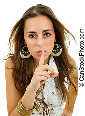 shh - young casual woman going shut up, isolated