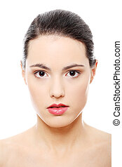 Close-up portrait of young beautiful woman face on white...