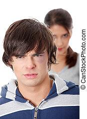 Young beaten up caucasian man