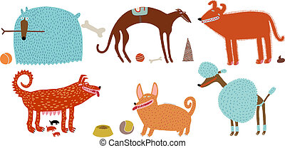 orange-blue vector dogs set - Vector illustration of various...