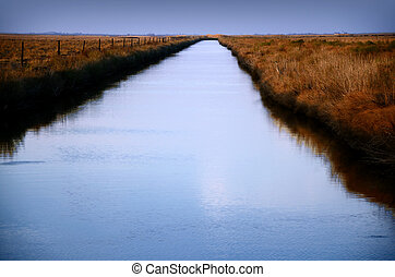 Drainage Canal - Drainage canal to the horizon and across...