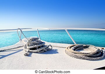 Boat white bow in tropical Caribbean sea