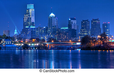 Philadelphia Skyline at Night - A view of Philadelphia;...