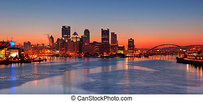 Pittsburgh Skyline at Night - A view of Pittsburgh;...