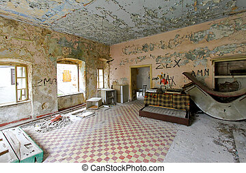 Derelict flat - Interior of abandoned derelict flat with...