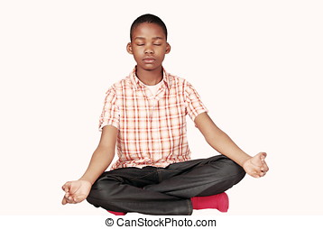 Ethnic boy yoga meditation - Handsome ethnic youth in yoga...