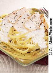Fettuccine Alfredo With Chicken - Classic creamy fettuccine...