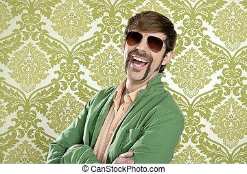 Geek, retro, vendeur, homme, rigolote, moustache