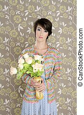 retro woman portrait 60s fashion vintage flowers wallpaper