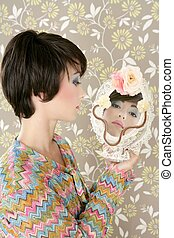 retro woman mirror fashion portrait tacky vintage wallpaper