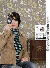 multimedia cinema 8mm woman music tape open ree