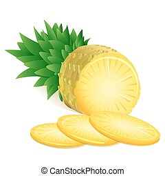 pineapple - illustration of pineapple on white background
