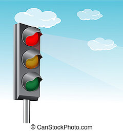 traffic signal with clouds