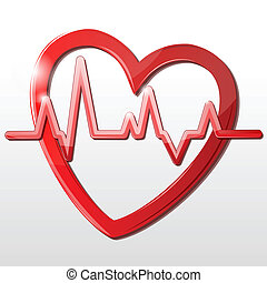 heart with cardiograph - illustration of heart with...