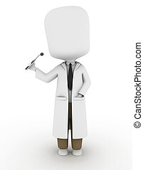 Dentist - 3D Illustration of a Dentist Holding a Dental...