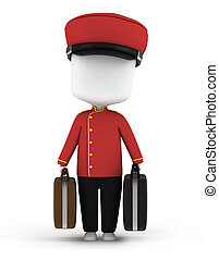 Bellboy - 3D Illustration of a Bellboy Carrying Luggage