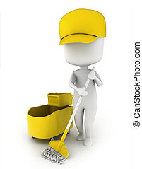 Janitor - 3D Illustration of a Janitor Mopping the Floor