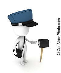 Mailman - 3D Illustration of a Man Putting a Letter in a...