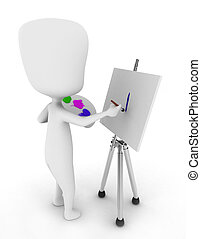 Painter - 3D Illustration of a Painter Painting on His...