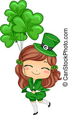 Girl Holding Shamrock-shaped Balloons - Illustration of a...