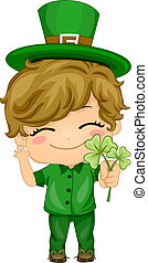 Boy Holding Shamrocks