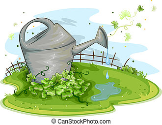Watering Can - Illustration of a Watering Can Sitting Near a...