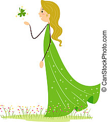 Woman Catching a Shamrock - Illustration of a Woman Catching...