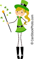 Girl Holding a Cane - Illustration of a Girl Holding a Cane