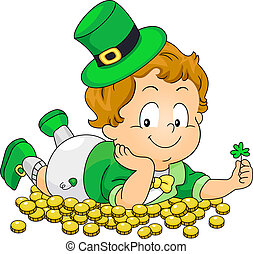 Kid Lying on Gold Coins
