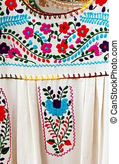 Mexican embroidered Chiapas dress detail