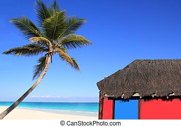 Caribbean coconut palm tree and red hut cabin - Caribbean...