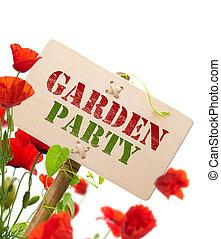 garden party green sign - Garden party sign, message on a...