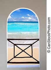 arch window tropical Caribbean beach seen through - arch...