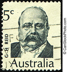 AUSTRALIA - CIRCA 1969: A stamp printed in Australia shows Sir George Reid was an Australian politician, Premier of New South Wales and the fourth Prime Minister of Australia, circa 1969