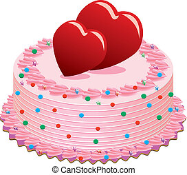 valentine cake - vector valentine cake with hearts