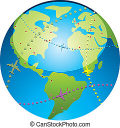 airplane flight paths - vector airplane flight paths over...