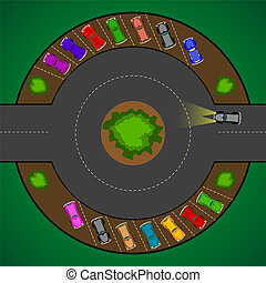 round parking for cars - parking for cars, abstract vector...