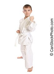 Sportsman boy - Young boy in kimono over pure white...