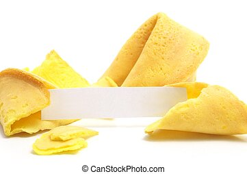 fortune cookie - chinese fortune cookie with label isolated...