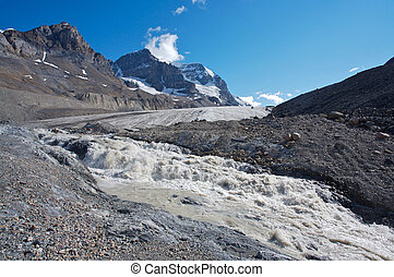 Athabasca Glacier with melt water - Athabasca glacier with...