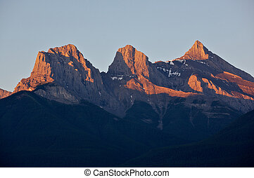 Sunrise light on mountains